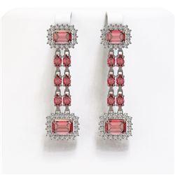 11.38 ctw Tourmaline & Diamond Earrings 14K White Gold - REF-245G3W