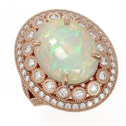 9.48 ctw Certified Opal & Diamond Victorian Ring 14K Rose Gold - REF-293A3N