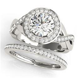 2.34 ctw Certified VS/SI Diamond 2pc Wedding Set Halo 14k White Gold - REF-409N3F