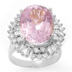 15.75 ctw Kunzite & Diamond Ring 18k White Gold - REF-272G8W