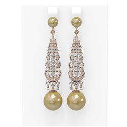 3.2 ctw Diamond & Pearl Earrings 18K Rose Gold - REF-267M5G