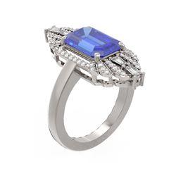 5.27 ctw Tanzanite & Diamond Ring 18K White Gold - REF-309H3R