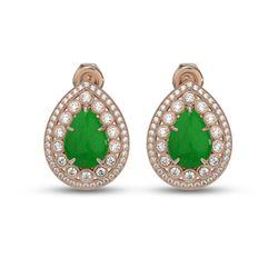 7.74 ctw Jade & Diamond Victorian Earrings 14K Rose Gold - REF-218K2Y