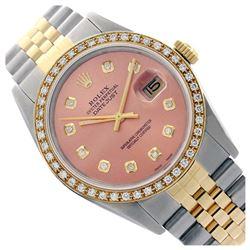 Rolex Ladies Two Tone 14K Gold/SS, Diamond Dial & Diamond Bezel, Sapphire Crystal - REF-434F3M