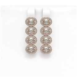 5.92 ctw Oval Cut Diamond Micro Pave Earrings 18K Rose Gold - REF-821Y2X