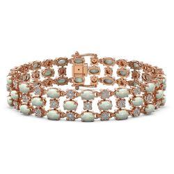 12.7 ctw Opal & Diamond Row Bracelet 10K Rose Gold - REF-245A5N