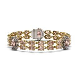 30.62 ctw Morganite & Diamond Bracelet 14K Yellow Gold - REF-392R5K