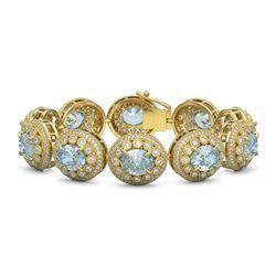 39.82 ctw Aquamarine & Diamond Victorian Bracelet 14K Yellow Gold - REF-1218A2N
