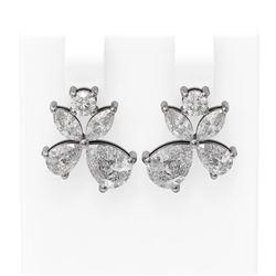 4.68 ctw Diamond Earrings 18K White Gold - REF-824Y6X