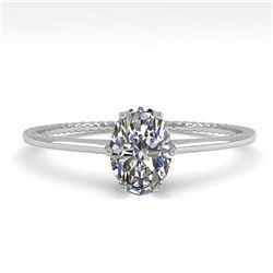 1.0 ctw VS/SI Oval Cut Diamond Engagment Ring 18k White Gold - REF-287M4G