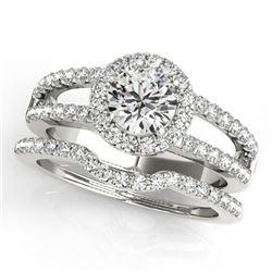 1.51 ctw Certified VS/SI Diamond 2pc Wedding Set Halo 14k White Gold - REF-141F4M