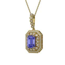 6.05 ctw Tanzanite & Diamond Victorian Necklace 14K Yellow Gold - REF-309K3Y