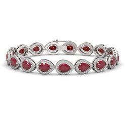 21.69 ctw Ruby & Diamond Micro Pave Halo Bracelet 10k White Gold - REF-336N4F