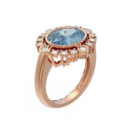 4.04 ctw Blue Topaz & Diamond Ring 18K Rose Gold - REF-154M5G