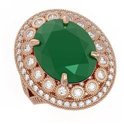 13.85 ctw Certified Emerald & Diamond Victorian Ring 14K Rose Gold - REF-509H3R