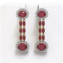 13.28 ctw Ruby & Diamond Earrings 14K Yellow Gold - REF-236X4A