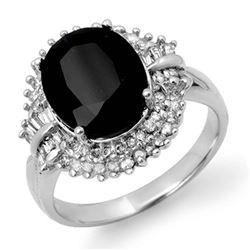 6.29 ctw Blue Sapphire & Diamond Ring 14k White Gold - REF-136W4H