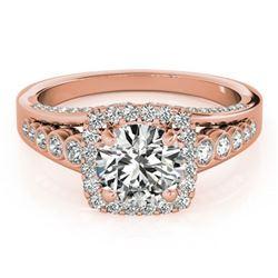 1.5 ctw Certified VS/SI Diamond Halo Ring 18k Rose Gold - REF-187G2W