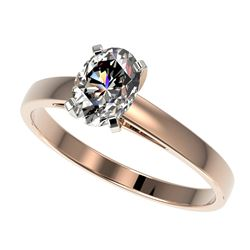 1 ctw Certified VS/SI Quality Oval Diamond Solitaire Ring 10k Rose Gold - REF-243G2W