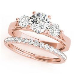 2.17 ctw VS/SI Diamond 3 Stone 2pc Wedding Set 14k Rose Gold - REF-395Y5X