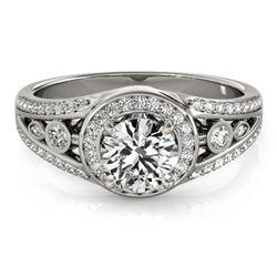 1.15 ctw Certified VS/SI Diamond Halo Ring 18k White Gold - REF-163X6A