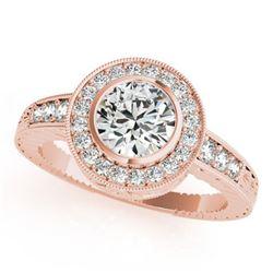 1.11 ctw Certified VS/SI Diamond Halo Ring 18k Rose Gold - REF-162G3W
