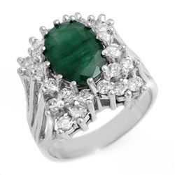 4.75 ctw Emerald & Diamond Ring 18k White Gold - REF-160R2K