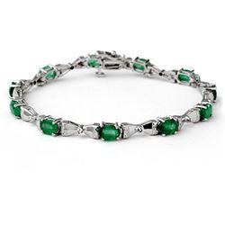 6.11 ctw Emerald & Diamond Bracelet 14k White Gold - REF-114F5M