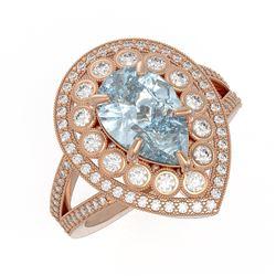3.82 ctw Certified Aquamarine & Diamond Victorian Ring 14K Rose Gold - REF-168A8N