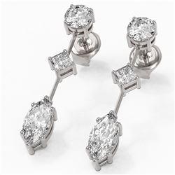 1.85 ctw Marquise Cut Diamond Designer Earrings 18K White Gold - REF-228X8A