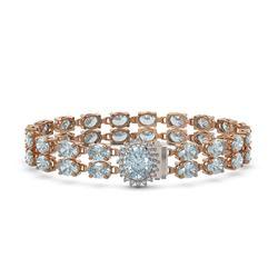 20.47 ctw Aquamarine & Diamond Bracelet 14K Rose Gold - REF-336R4K