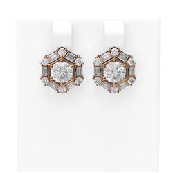 3.74 ctw Diamond Earrings 18K Rose Gold - REF-789H3R