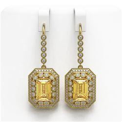11.44 ctw Canary Citrine & Diamond Victorian Earrings 14K Yellow Gold - REF-243G5W