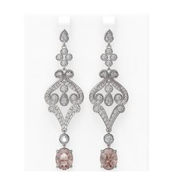 9.85 ctw Morganite & Diamond Earrings 18K White Gold - REF-690X9A