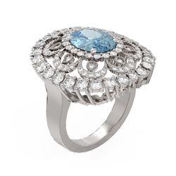 5.66 ctw Aquamarine & Diamond Ring 18K White Gold - REF-345W5H