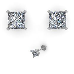 1.05 ctw Princess Cut VS/SI Diamond Designer Earrings 18k Rose Gold - REF-121M5G