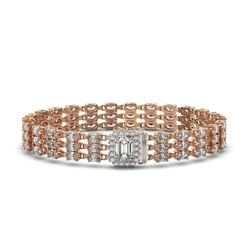 19.48 ctw Emerald Cut & Oval Diamond Bracelet 18K Rose Gold - REF-2068R4K