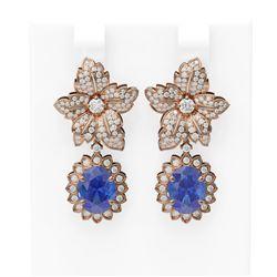9.3 ctw Tanzanite & Diamond Earrings 18K Rose Gold - REF-436K4Y