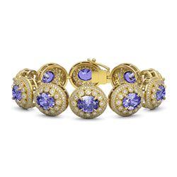 50.27 ctw Tanzanite & Diamond Victorian Bracelet 14K Yellow Gold - REF-1704F4M