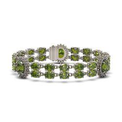 30.69 ctw Tourmaline & Diamond Bracelet 14K White Gold - REF-286R5K