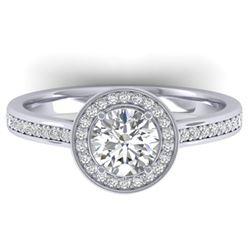 1.1 ctw Certified VS/SI Diamond Micro Halo Ring 14k White Gold - REF-188G5W