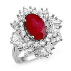 4.70 ctw Ruby & Diamond Ring 18k White Gold - REF-184W8H