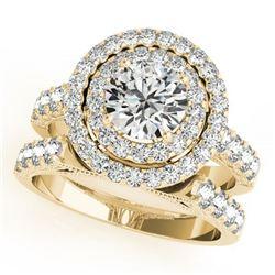 2.67 ctw Certified VS/SI Diamond 2pc Wedding Set Halo 14k Yellow Gold - REF-343F8M