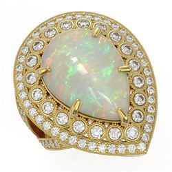 11.19 ctw Certified Opal & Diamond Victorian Ring 14K Yellow Gold - REF-333X6A
