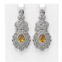 12.02 ctw Canary Citrine & Diamond Earrings 18K White Gold - REF-530Y2X