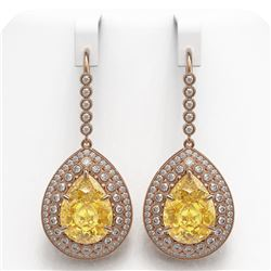 33.92 ctw Canary Citrine & Diamond Victorian Earrings 14K Rose Gold - REF-446H9R