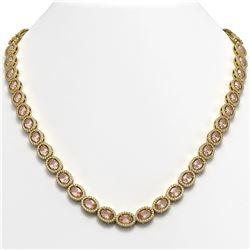 31.96 ctw Morganite & Diamond Micro Pave Halo Necklace 10k Yellow Gold - REF-672G8W