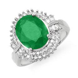 5.04 ctw Emerald & Diamond Ring 14k White Gold - REF-136N4F