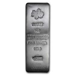 One piece 100 oz 0.999 Fine Silver Bar PAMP Suisse - 196345