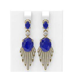 10.09 ctw Sapphire & Diamond Earrings 18K Yellow Gold - REF-343A6N